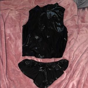 Two piece sexy fit rubber latex festival wear